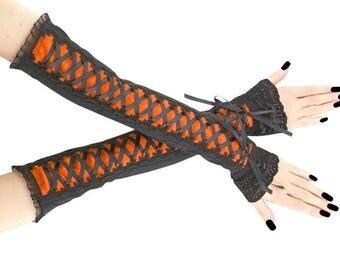 Black orange fingerless gloves, arm warmers gothic burlesque goth lace bridal gloves corset laced glove victorian lolita boho vampire 0340I