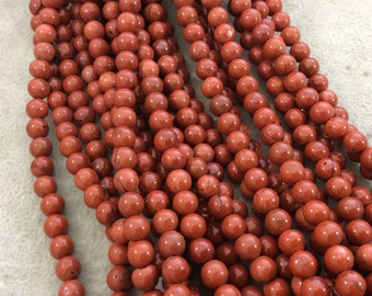 """6mm Smooth Natural Red Jasper Round/Ball Shaped Beads with 1mm Holes - Sold by 15"""" Strands (Approximately 65 Beads) - High Quality Gemstone"""