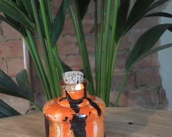 Vintage Hand Formed Painted Glass Bottle Black/Orange/White