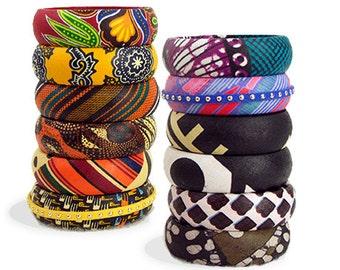 Large Ankara Bangles  - Kente Bangles - African Print Bangles - African Bracelet - African Fabric Covered Wood Bangles