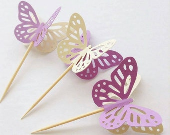 12 Purple 3D Butterfly Cupcake Toppers - Party Baby Shower Cake Newborn Baby Girl Eid Cute Dimensional Lilac