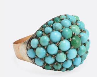 Victorian Turquoise Pave Ring in 18k Gold