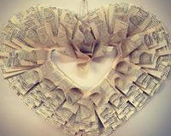 Book Page Heart Paper Wreath