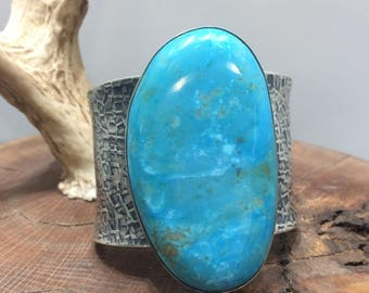 Turquoise Cabochon Cuff Hammered Sterling Silver