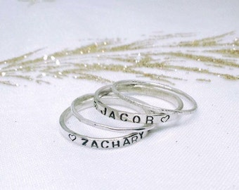 Silver stacking ring, personalised jewellery, name ring, stacking ring set, gift for new mom, gift for mom, childrens name jewelry,