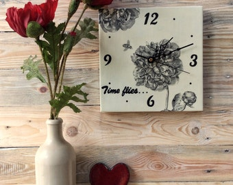 Time Flies Wall Clock | Square Clock | Floral Clock | Unique Gift | Black and White Clock | Wedding Gift | Gift for Her | Bee Clock