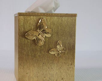 Vintage Brass Tissue Box Cover - Hollywood Regency Butterfly Tissue Box Holder