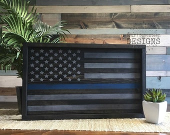 Thin Blue Line Flag {law enforcement, police officer, LEOW, back the blue, LEO, we see you, support blue}