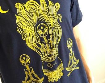 navy blue/yellow alien dmt shirt