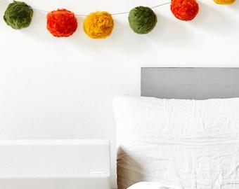 DIY Pompom garland. Pom pom wallhanging. Wall art decor.