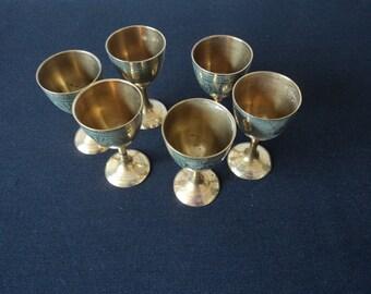 REDUCED - Vintage decorative brass and enamel liquor cups (P00028)
