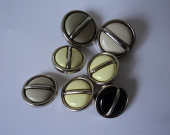 REDUCED - French vintage set of six assorted craft buttons (04669)