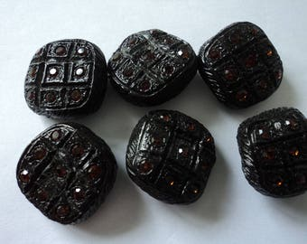 French vintage set of six stunning hand made jewelled craft buttons (04705)