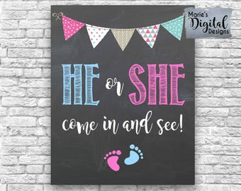 INSTANT DOWNLOAD He Or She Come In And See Printable Gender Reveal Party Decor Sign / Welcome Chalkboard Baby Blue Pink Boy Girl JPEG file