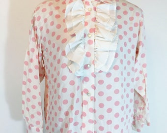 Vintage Pink Polka Dot Blouse Long Sleeve Blouse Ruffle Blouse Pink Polka Dot Button Down Polyester Shirt 1960s