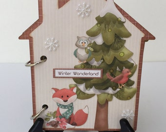"Christmas House Mini Album OOAK 6.5"" x 5.5"" Just add photos corenescreations"