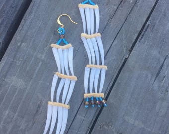 Dentelium Shell Earrings with glass beads and mooseskin