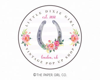 horseshoe logo design boho chic logo design jewelry design logo premade logo design watercolor logo photography logo rustic logo watermark