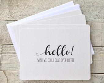 "Set of Five, 5""x7"" Flat Note Cards, Coffee and Friends, Thinking of You, Coffee Note Cards, Blank Greeting Cards, Cards With Envelopes"