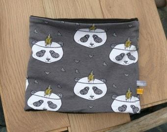 polar pass child / child snood / snood, polar neck double, fabric panda, gray, pink, organic fabric, collar polar organic fabric