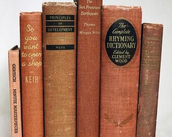Red-Orange Books, Interior Book Decor, Wedding Centerpiece, Used Books, Vintage Book Set, Home Decoration, Antique Books