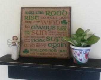 SALE - St Patrick's Day Sign Irish Proverb Sign Burlap Home Decor (Brown)