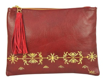 Hand Painted Fine Grain Leather Purse - Anne Ardeal Red Clutch by Lyria.ro