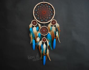 Dream catcher Dreamcatcher American mascots Indian talisman light blue Beige color Boho Home Decor Native American