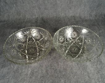 "Two Anchor Hocking Early American Prescut Glass Star David 10.75"" Serving Bowls"