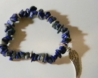Variegated Blue Stone Stretchy Bracelet with Dangling Wing Charm