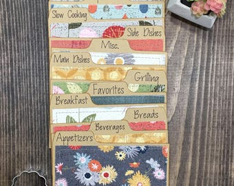 """3.5"""" x 5"""" Recipe Card Dividers, Floral, Flowers, Gray"""