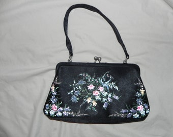 1950's Lovely English Black Silk Handbag Purse with Hand Painted Flowers and Glass Beads by Waldy Bags