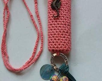 Hot coral, handmade crochet lightercozy.