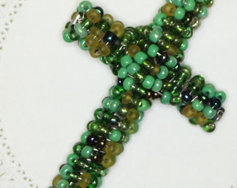 "3.25 "" Green Hued Beaded Wall Cross"