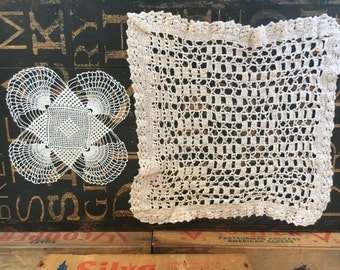 Two (2) Crochet Cotton Doilies. One fine & One Medium weight thread