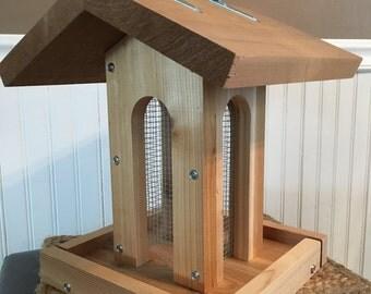Tall arches cedar bird feeder (silver hardware)