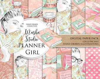 "Planner Papers: ""Planner Girl Digital Paper"" with planning girl digital paper, planner paper, planner book, 14 images, 300 dpi. jpg files"