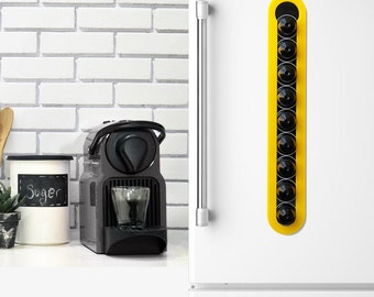 Nespresso Yellow Coffee Pod Holder, Black Magnetic Kitchen Organizer, Coffee Pod Holder Design, Wall Mount Storage, Home Kitchen Decor Gift