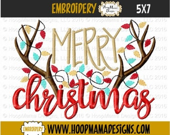 Christmas Embroidery Design -Merry Christmas with Antlers 4x4 5x7 6x10, Santa Hat Embroidery Design, Christmas Designs