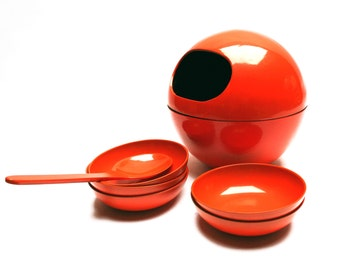 Vintage 1960s Space Age dip dish set, Sphere sauce boat or orb gravy boat, cups or pans and  a spoon, Lacquered look orange plastic