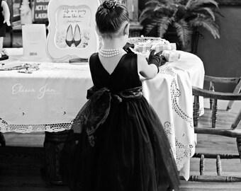 Audrey Hepburn black flower girl dress. Inspired by Breakfast at Tiffany's.