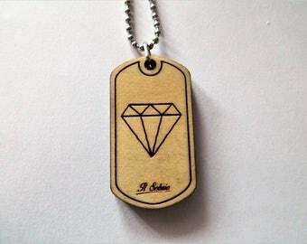 Wood craft luxury exclusive precious GEOMETRY DIAMOND DOGTAG