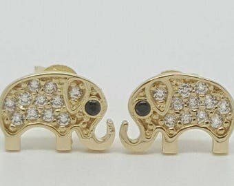 14k Solid gold elephant stud earrings