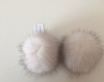 Silver Blue  Mink pompom clips, a pair of mink pompoms suitable to clip them in shoes, shirts and more.