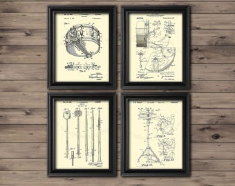 Vintage Drum Patent Art Prints set of 4 art prints in cream color Gift for Drummer, gift for guitarist, Musician wall decor, Drums wall art