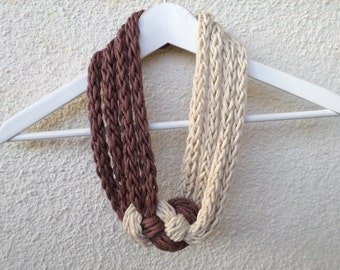 Hand knitted Necklace in cream and brown, Cream Necklace, Knit necklace, Gift for Her, Sommer necklace