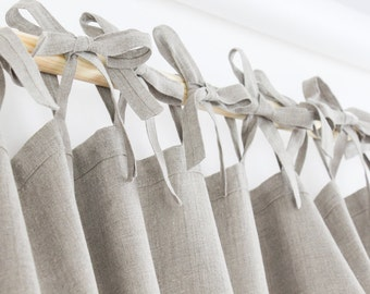 Natural Linen Curtain Tie Top / linen drapes / tie top curtain panel with ribbons / 100% linen drapes