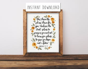 """Watercolor Printable Quote, Instant Download Painting, Bible Verse Painting, Bible Quote, Bible Verse Print, Bible Verse Painting, 8x10"""""""