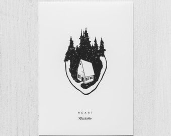 Poster Art Print - Heart - Home Forest Trees