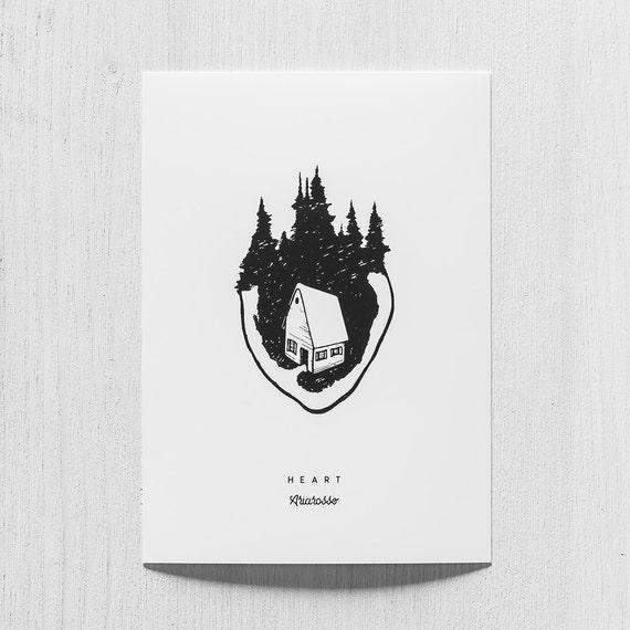 Poster Art Print - Heart Blackwork Series A5 Size - Heart Home Forest ...